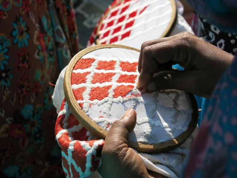 The artisans generally specialise in one or two specific designs, but several senior craftspeople are able to make patterns across Popinjay(***)s range.