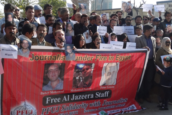 News networks join growing call for the release of Al Jazeera's staff from Egypt's Tora Prison [Al Jazeera]