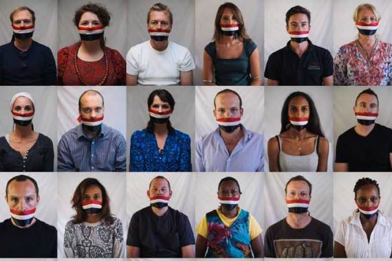 Gagged by the flag: East Africa journalists protest against Egypt's crackdown on journalists [Phil Moore]