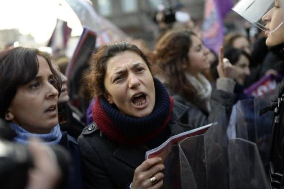Turkish women have protested against high rates of violence against women [AFP/Getty Images]