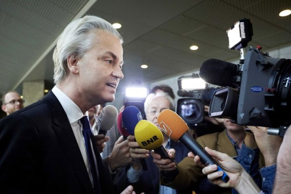 Wilders led his followers into an anti-Moroccan chant during a party after municipal elections [EPA]