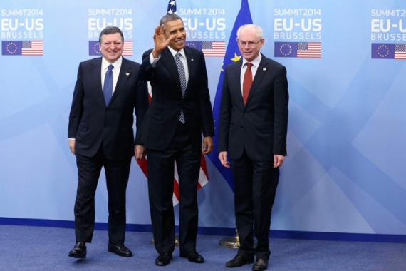 Obama's first visit to Brussels is set to be dominated by responses to Russia's annexation of Crimea [Reuters]