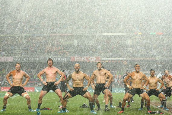 New Zealand performed their traditional haka in the deluge, after winning the Rugby Sevens final [GETTY]