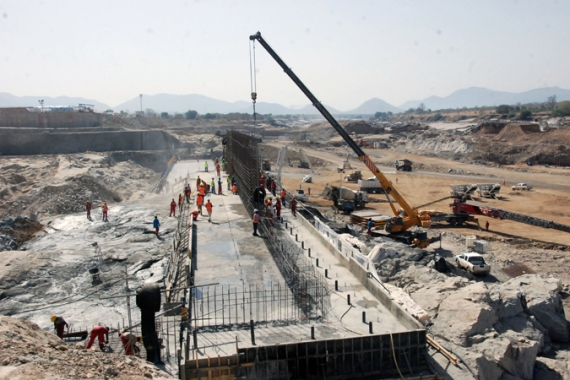 Despite the ongoing dispute, construction of the dam is already 30 percent complete [AP]
