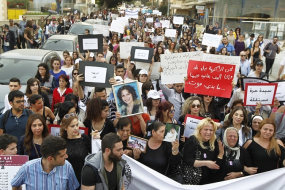 Thousands marched against domestic violence in Beirut on International Women's Day  [EPA]