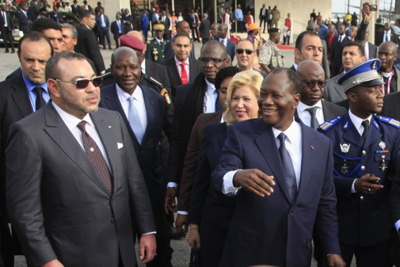 Morocco's King Mohammed VI, left, with Ivory Coast President Alassane Ouattara in March [Reuters]