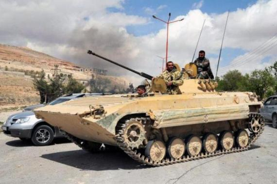 Troops swept through remaining rebel-held areas north of Damascus before Tuesday's advances [AP]