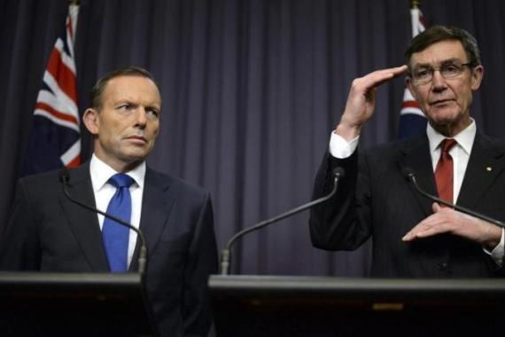 Abbot, left, said Australia would seek contributions from other nations to help pay for new search equipment [EPA]