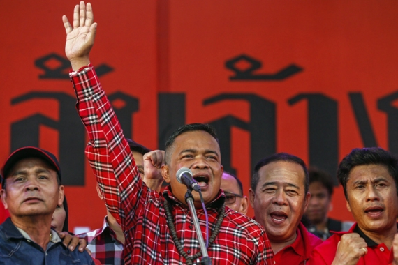 "'Red Shirt' leader Jatuporn Prompan has vowed to fight the ""elite"" who wants Yingluck out as of office [Reuters]"