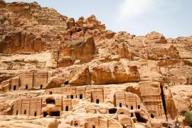 Traditional rock-cut Nabatean tombs can be seen along the lower part of the ancient city of Petra.