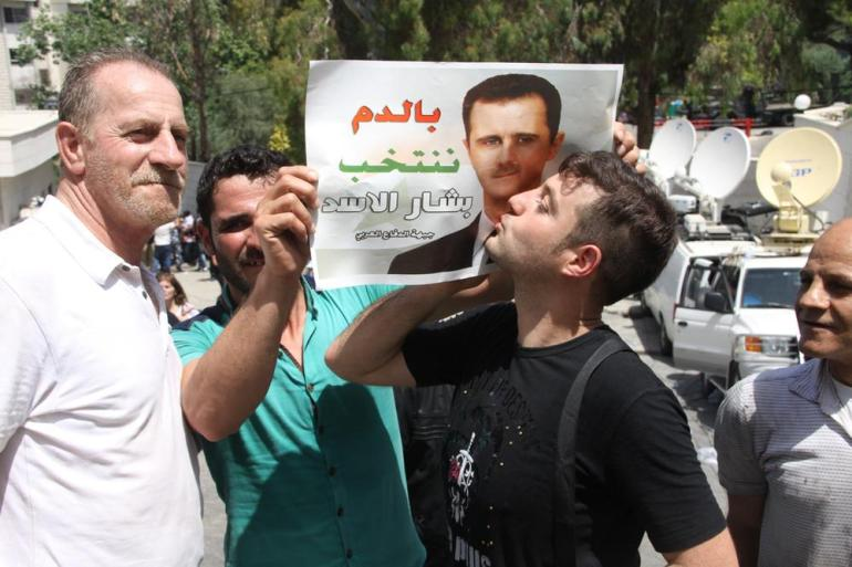 Chanting for Assad broke out periodically on the highway, in front of the embassy and even in the polling room. (***)God, Syria, Bashar only,(***) they chanted.