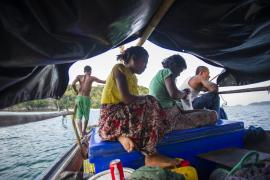 "The Moken people, a nomadic ethnic minority also known as ""sea gypsies"", live on the waters off Myanmar(***)s Mergui Archipelago. Today, there are around 2,000 members who continue to live the nomadic lifestyle, down from 12,000 a decade ago."