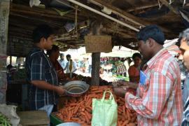 The rythu bazaar or farmers market is a dedicated space in the major cities of Andhra Pradesh state where farmers can directly sell their produce rather than via middlemen.