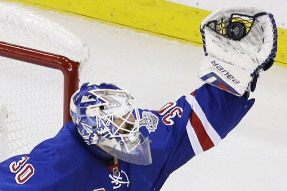 New York Rangers goalie Henrik Lundqvist stopped 15 shots in the third period [AP]
