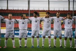 <p>The Nagorno-Karabakh team stands during the playing of the national anthems before a game. Although the football federation of Azerbaijan requested that CONIFA prevent the breakaway republic from participating, CONIFA declined to do so.</p>