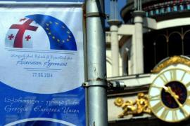 Posters promoting the upcoming Georgian trade deal with the European Union are seen in central Tbilisi [AFP]