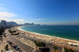 Rio de Janeiro(***)s famous Copacabana Beach features a massive TV screen where thousands of people gathered on Saturday to watch Brazil in action against Chile in the round of 16 of the 2014 World Cup.