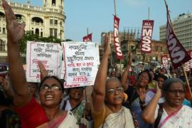 Rape has stirred protests, such as this over the rape and murder of two girls in Uttar Pradesh, across India [AFP]