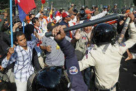 Multiple anti-government protests have been held in Phnom Penh since elections in July last year [AFP]