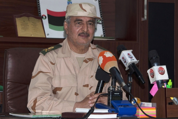 Haftar, an ex-army officer, has launched an offensive against Ansar al-Sharia fighters in Benghazi [Reuters]
