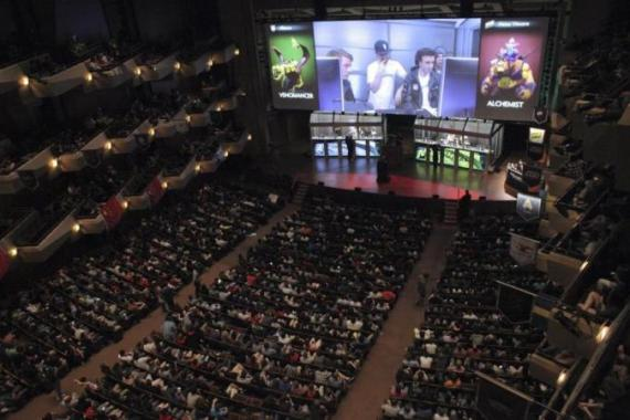 A packed Benaroya Hall watches as the two final Dota 2 teams compete for the first place. [Reuters]