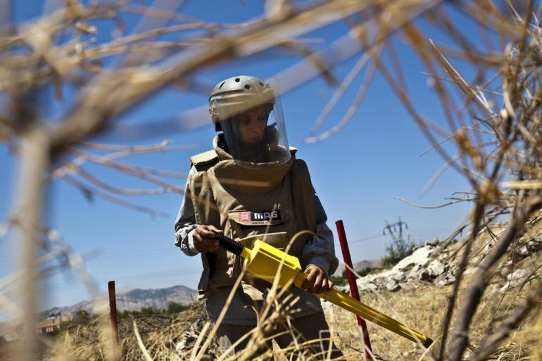 The Mines Advisory Group (MAG) partakes in land mine and cluster munition clearance activities in Lebanon(***)s ordinance-infested south. Wafaa Diab has worked for MAG for over a year helping rehabilitate Lebanon(***)s land.