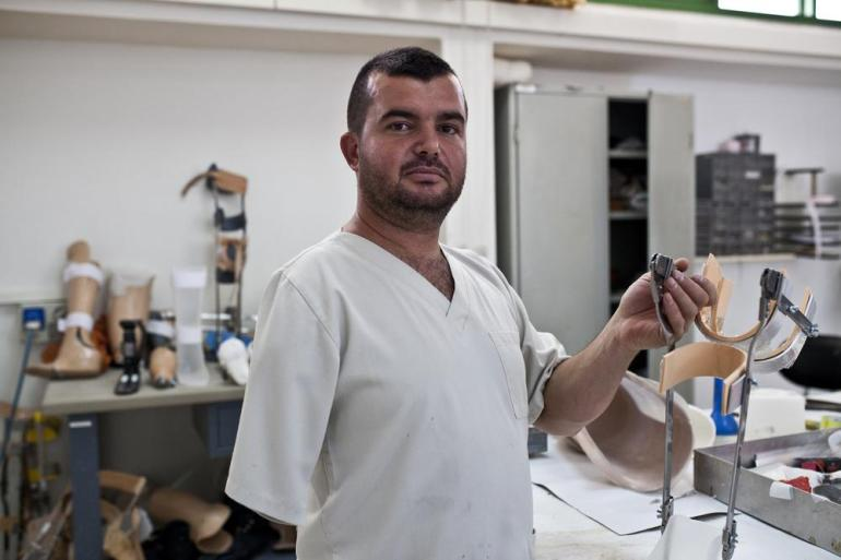 Hussein Ghandour is a land mine survivor who has worked as a prosthetics technician for 13 years. He was seven when he was injured.