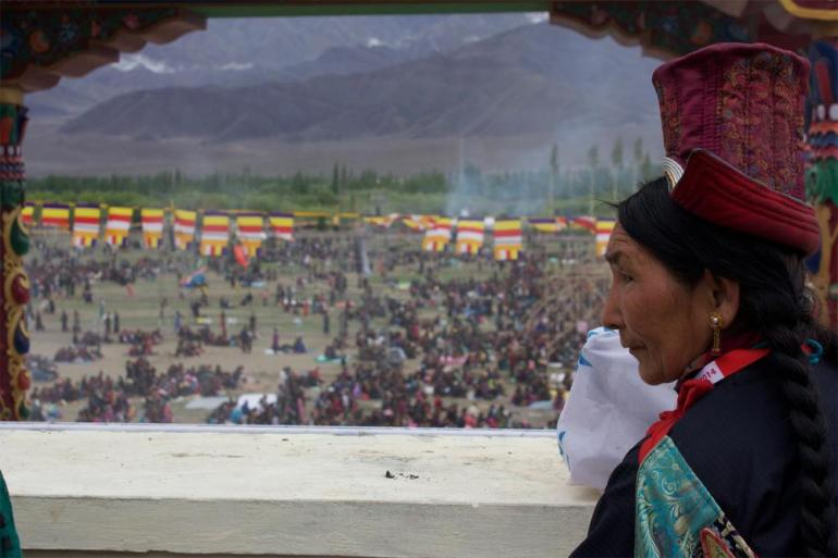 Nearly 80,000 local Ladakhis, 15,000 Tibetans from around the world, 9000 monks and nuns, 5000 foreigners and numerous Indians attended the first day(***)s teaching.