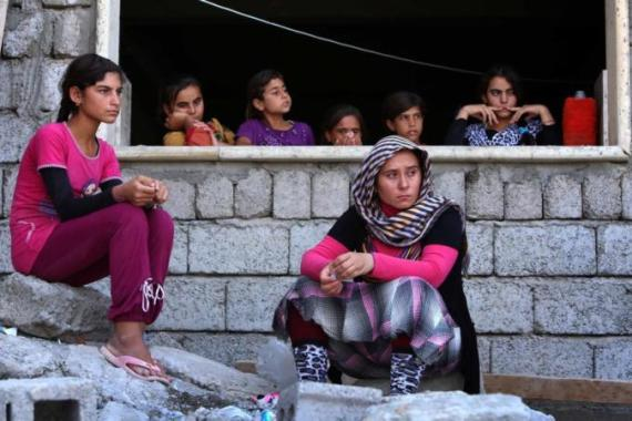 Iraqi Yazidis have fled the violence in the northern Iraq town of Sinjar [AFP]