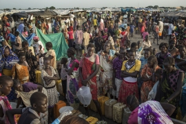 Hunger and food problems caused by violence forced more than a million people to flee their homes [AP]