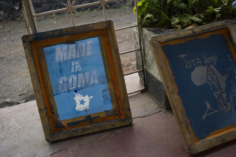 Handmade screen prints are pictured outside the Yole! Africa cultural centre in Goma, eastern DR Congo. As part of the SKIFF festival, American-born Congolese fashion designer, Eric Ndele, ran a fashion workshop for aspiring Congolese designers.
