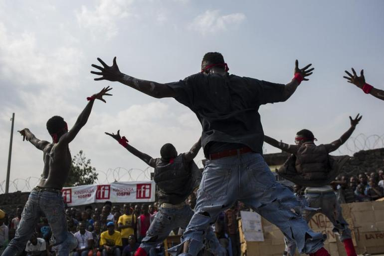 "The ""King Magic of the Dance"" group performs at a dance competition in Kivu(***)s capital, Goma, on July 9."