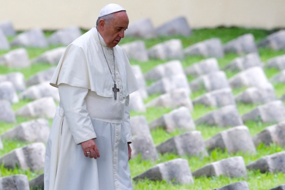 The pope prayed at a cemetery for some 15,000 soldiers from five nations of the Austro-Hungarian empire [AP]