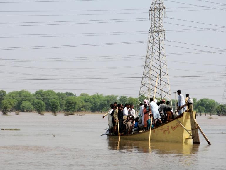 Many people have been using boats to check on their homes. At least 11 people were killed on September 14 when a similarly overloaded boat carrying a wedding party capsized near Muzaffargarh.
