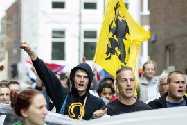 Protesters march against Muslim radicals, Islamic State and anti-Semitism in The Hague in August [EPA]