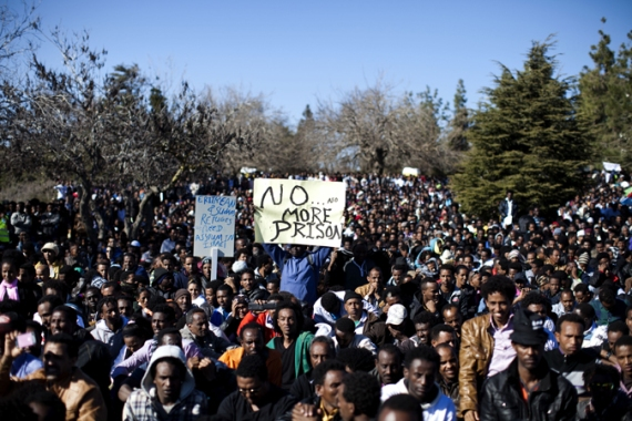Thousands of African asylum seekers protested earlier this year against Israel's use of indefinite detention [EPA]