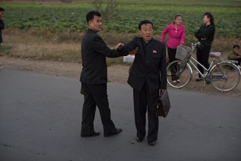 North Koreans are not used to foreigners with cameras and this gentleman took exception to his photo being taken. [Miguel Toran/Al Jazeera]