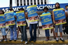 Nicaraguan girls protest against sexual abuse in front of the National Assembly in Managua [AP]