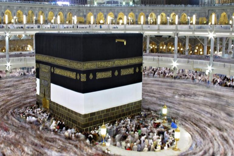 The Hajj involves several rites, including circling the cube-shaped Kaaba seven times.