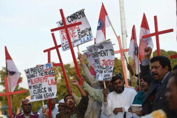 Pakistani Christians have protested against Tuesday's killing of the couple outside Lahore [AFP]