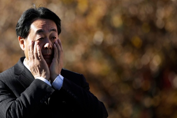 Banri Kaieda, leader of the Democratic Party of Japan, before delivering a campaign speech [AP]
