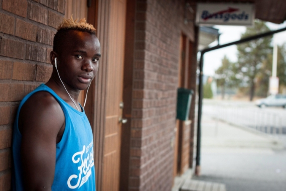 Mubiru Yahaya, 17, scored 26 goals for the boys' under-17 team in tiny Sorsele [Sven Carlsson/Al Jazeera]