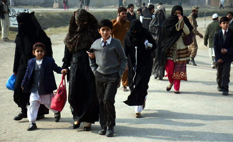 An unknown number of students were rescued by security forces and taken away by their families.