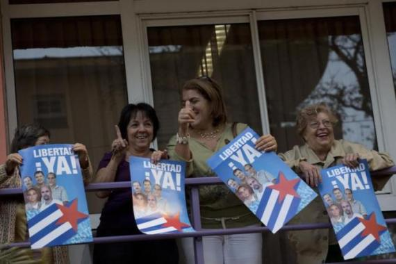 The three Cubans imprisoned in the US who were sent home were part of a group of five who were spying on Cuban-Americans viewed as threatening by Cuba, writes McCoy [AP]