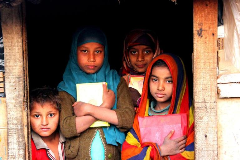 Children inside a makeshift school in a Rohingya refugee camp in Jammu.