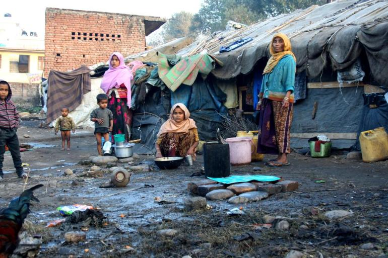 With no water and sanitation facilities, the camps are at a high health risk.