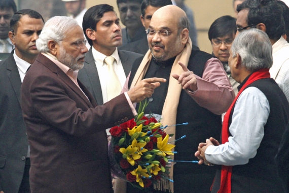 Amit Shah (centre) became the president of the Bharatiya Janata Party in July this year [Getty Images]