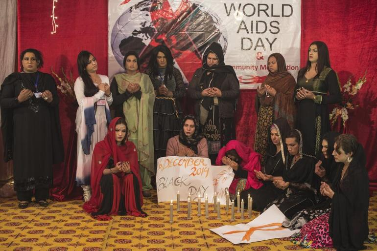 Transgender people commemorate World AIDS Day. Members of the transgender community held a candlelight vigil for the 150 victims of the attack on a school in Peshawar on December 16, 2014.