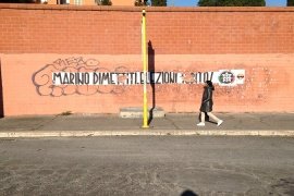 Casa Pound graffiti in the Tor Sapienza neighbourhood highlighting the right-wing party [Alberto Mucci/Al Jazeera]