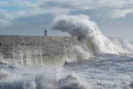 Strong winds from a second Atlantic storm in two days batters much of Britain  [AFP]